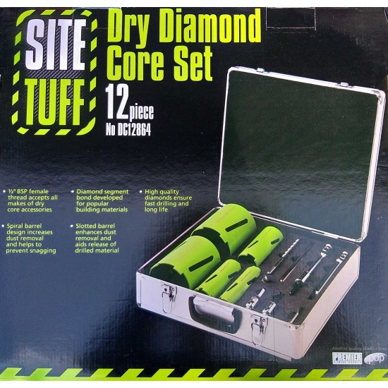 DIAMOND DC12864 -12 Piece Dry Diamond Core Drill Bit Set with Case
